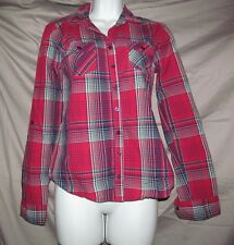 Love Fire Juniors S Small Pink Black plaid front button long sleeve top 16 x 23