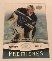Jordan Binnington /799 made Ice Premieres Insert Parallel Hockey Card Rookie 123