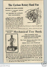 1920's PAPER AD Dapper Dan Tin Mechanical Toy Coon Jigger Savings Bank Flute