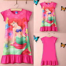 6-16Yr Girl Child Kids Little Mermaid Ariel Skirt Pyjama Nightwear Nightie Dress