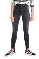 "Madewell 10"" High Rise Skinny Jeans 27 Black Wash Stretch Denim Frayed Step Hem"