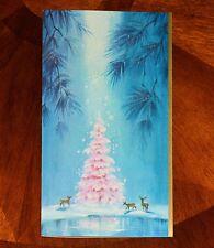 """VINTAGE UNUSED Christmas Card GLITTER GLITTERED PINK TREE with DEER 8"""""""