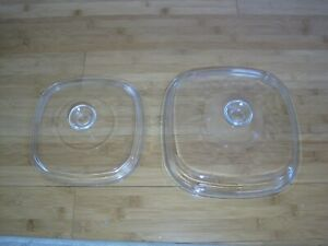 2 Pyrex Glass Lids for Corning Ware Casseroles  A-12-C and A-9-C pre-owned.