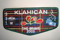 OA KLAHICAN LODGE 331 CAPE FEAR COUNCIL PATCH VENUS TRAP BRAVE 2003 SERVICE FLAP