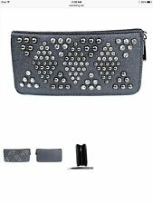 CS-1 Black Gunmetal Zipper Wallet w/Crystal & Stud Accents & Wrist Strap