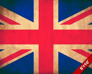 Great Britain UK Union Jack Ireland Flag 8x10 Real Canvas Giclee Art Print New