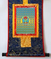 "14"" SILK BROCADED BLESSED GOLDEN WOOD SCROLL TIBETAN THANGKA: 100 TARAS ="