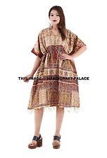 Kantha Vintage style Silk Kaftan Festival Boho Over Dress Holiday Beach Cover-up