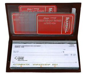 Burgundy Genuine Leather Plain Checkbook Cover Long Men Lady's Wallet