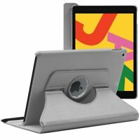 Coque Apple iPad 10.2 (2019) Housse Etui Pochette Rotatif 360 PU Cuir, Gris