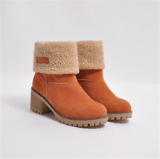 Womens Ladies Stylish Flat Grip Sole Snow Casual Winter Warm Ankle Boots Shoes