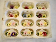 FLORAL CHINA SET OF PLACE CARD HOLDERS 6 COALPORT / 6 DENTON MADE IN ENGLAND