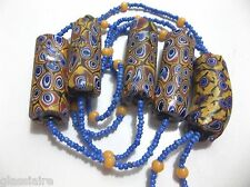 Antique Venetian Millefiori African Trade Beads 5 Oblong BLUE SEEDS String 28""