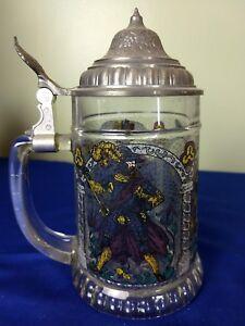 Vintage West German Glass Beer Stein Mug (7 inch Tall)