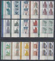 BERLIN: Sehenswürdigkeiten, kpl. Satz 4er Blocks, Eckrand (Ecke 3) postfrisch/**