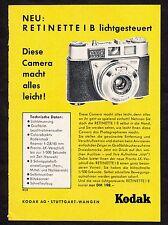 3w1676/ Alte Reklame von 1960 - KODAK Retina automatic IB - Stuttgart
