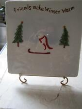 "NEW IN BOX RUSS HAND PAINTED  ""FRIENDS MAKE WINTER WARM PLAQUE NATURE THEME TILE"