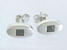 Ovale Silber 925 Ohrstecker mit Onyx - Silberohrstecker - Ohrringe - Ohrschmuck