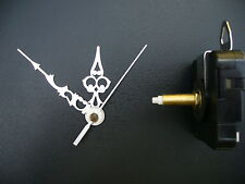 CLOCK MECHANISM QUARTZ SWEEP  LONG  SPINDLE.  66mm SILVER HANDS 15MM SPINDLE