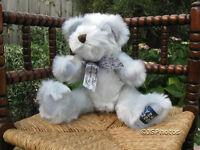 Metro Thirsk UK England 2000 Millennium Bear Sylvia 16 in. Silver Plush  Jointed