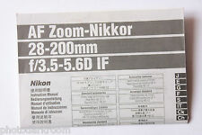 Nikon AF Nikkor 80-200mm 1:3.5-5.6D IF Instruction Manual Multilingual - USED M1