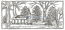 Church With Trees In Snow Wood Mounted Rubber Stamp Northwoods Rubber Stamp New