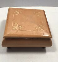 """Music Box made Italy Intarsitalia Reuge Footed Wood Lacquer Jewelry Vintage 6""""sq"""