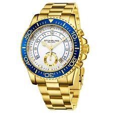 Stuhrling мужские хронограф для дайверов 10 атм белый циферблат золотой браслет спортивные часы