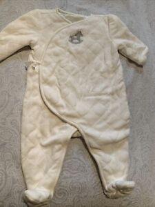 Janie & Jack Baby Bunting 3-6M Layette Ivory Quilted Kimono Plush Velour Horse