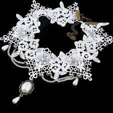 Women Gothic White Pearl Pendant Lace Flower Choker Clavicle Chain Necklace Gift