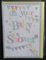 Unisex Baby Shower Gift Wrapping Paper with Hearts 1 Sheet /& 1 Matching Tag