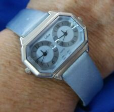 COLLEZIO DOUBLE TIME LIGHT BLUE BAND SILVER TONE WATCH, NEW BATTERY A15