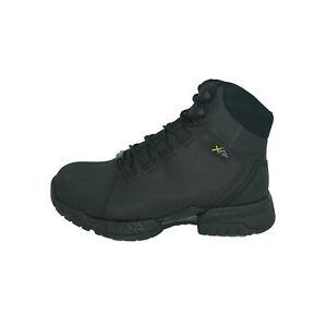 "Hytest Men's Xergy 6"" Leather Steel Toe Work Boots Black Size 11"