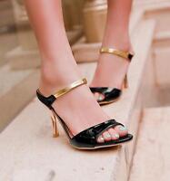 Ladies open toe stiletto high heels pumps summer sandals shoes 4colors plus size