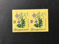 Guyana Flowers/Orchids $1 pair imperf mint