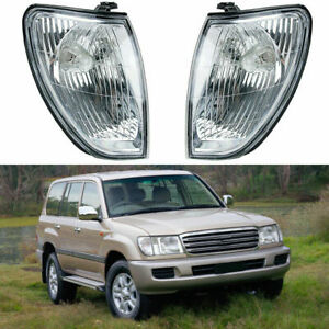 Pair Corner Light Lamp Clear Lens For Toyota Land Cruiser 100 1998-2005