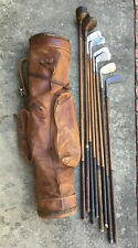 Antique hickory wood shaft Golf Clubs and All Leather Stovepipe Bag