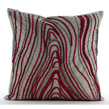 "Luxury Couch Pillow Cover 20""x20"" taffeta Grey, Bead - Cranberry Circuit"