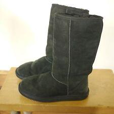 Genuine Black Sheepskin Shearling Wool Suede Winter Ankle Boots 7 37.5