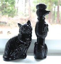 2 Vintage Avon Black Poodle & Cat Cologne Mostly Full Bottles
