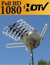 HD TV 1080p Outdoor Amplified Antenna 360 Rotor Digital UHF VHF FM 150 Mile v2.0