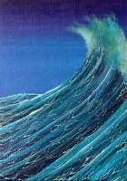 ACEO Original Acrylic Waves Sea Spray Seascape Nautical Ocean ATC Art HYMES