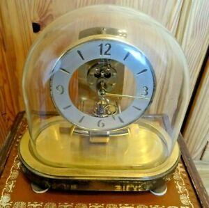 Ältere defekte Kundo Magnetpendel Uhr mit Glas Dom 50er Jahre Höhe ca. 23 cm