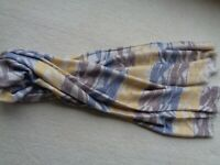 M&S Oversized Soft Blue Blanket Scarf/Shawl With Blue, Yellow And Beige Pattern