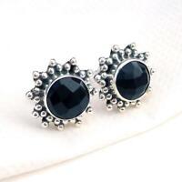 925 Sterling Silver Stud Black Onyx Round shape handmade Earrings KGJ-E-1033