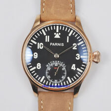 Retro Parnis 44mm Men Hand Wind Seagull 6498 Movement Watch Blue Luminous Dial