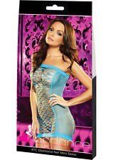 Lapdance Lingerie's Neon Blue XTC Diamond Net Mini Dress - One Size