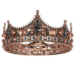 King Crown for Men, Vintage Baroque Royal Kings Crown Crystal Prom Tiara Mens