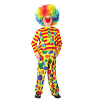 Circus Clown Costume Boy Dots Suspender Pant Top Christmas Birthday Fancy Dress