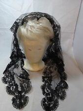 Vintage BLACK Lace MANTILLA Catholic Church HEAD Cover SCARF Triangle 44""